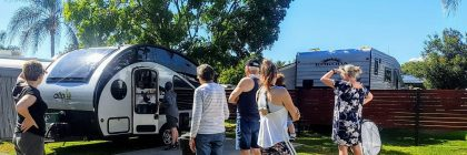 Crowds flock to admire Lynne and Paul's Alto caravan, while setting up at Toowoomba Motor Village