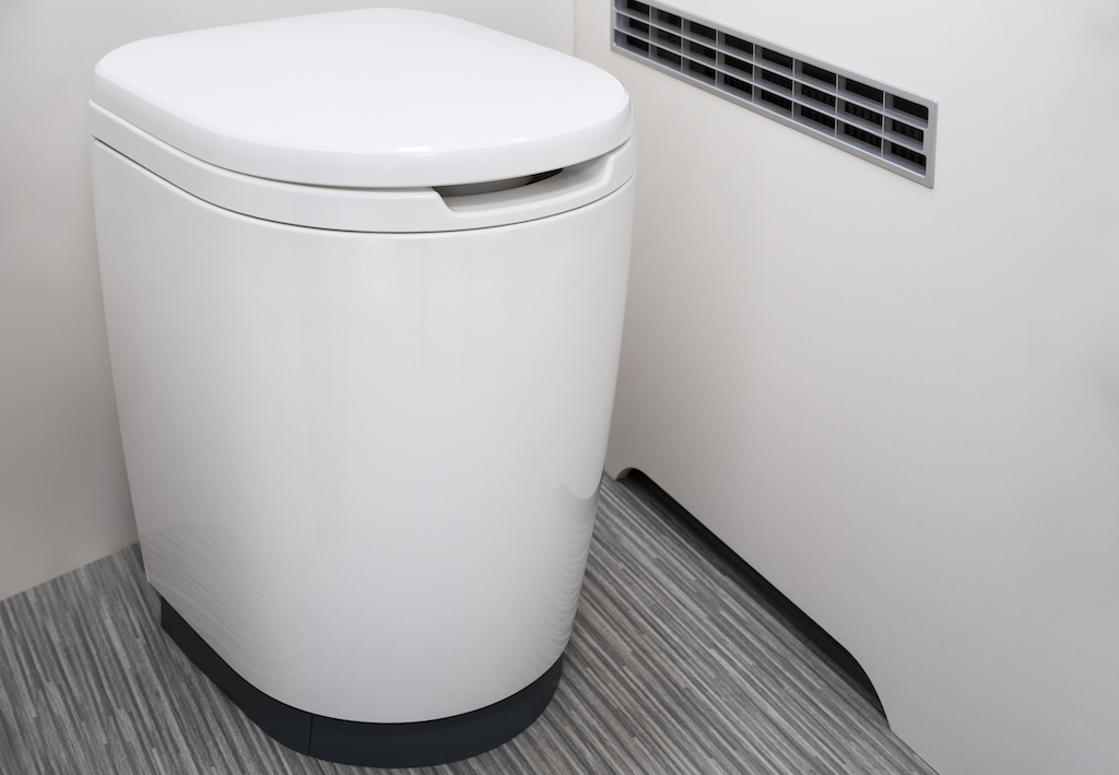 Thetford iNDUST toilet is stylish and features a soft-close lid